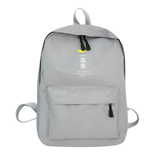 Finebo Mode Reisetasche Weiblich Leinwand Rucksack Studentenbuch Baoqing College Wind Rucksack Große Kapazität Paket (Grau) Wind Paket
