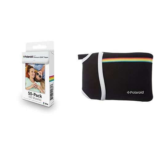 Polaroid 2x3 Zoll Premium ZINK Fotopapier (50 Blatt) - Kompatibel mit Polaroid Snap, Z2300, SocialMatic Sofortbildkameras, Zip Sofortbilddrucker &  Neopren Tasche für die Polaroid Zip Mobile Drucker (Polaroid Instant Kamera Z2300)