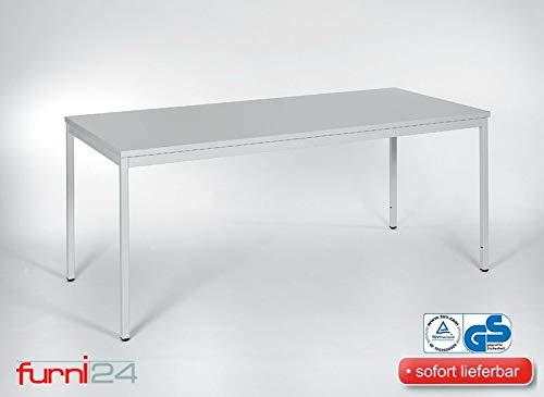 Furni 24 Schreibtisch Seminartisch 180 cm x 80 cm x 75 cm grau Verschiedene Größen schöner Stabiler PC-Tisch mit viel Beinfreiheitenstelltisch