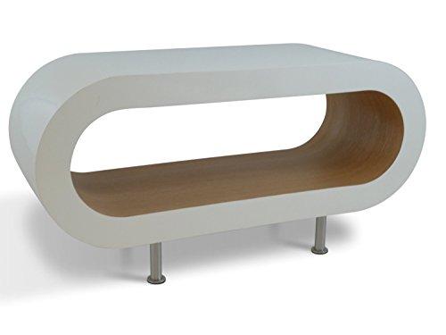 Zespoke Design Support Rétro 90cm Blanc Le Chêne Cerceau Café Pied de Table/TV Les Pieds