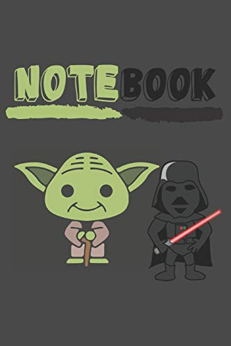Notebook: Cute Yoda and Darth Vader Notebook/Journal for Kids to Write In (6x9 Inch.) 120 Blank Pages for Children (Green&Black Pattern) (Black Boy Baby Doll)