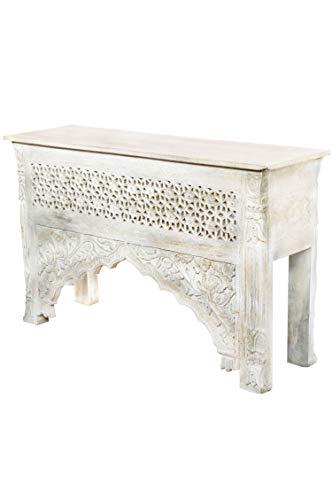 Orientalische Konsole Sideboard schmal Akasha 122cm Weiß Grau | Orient Vintage Konsolentisch orientalisch handgeschnitzt | Landhaus Anrichte aus Holz massiv | Asiatische Deko Möbel aus Indien