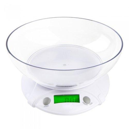 SODIAL (R) 7KG/1G digitale Bilancia elettronica con Ciotola per cucina pacco cibo Bianco