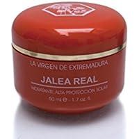 Bote de 50 ml de crema facial con filtro solar y jalea real marca La Virgen