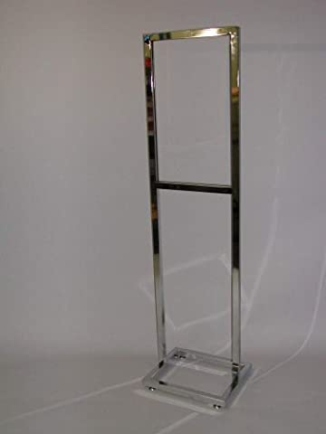 14W X 22H BULLETIN SIGN HOLDER 1 SQUARE TUBE WITH OPEN BASE WITH LEVELERS-CHROME-Lot of 1 by