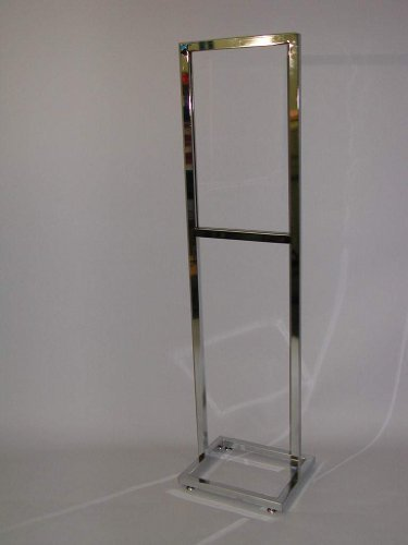 14w-x-22h-bulletin-sign-holder-1-square-tube-with-open-base-with-levelers-chrome-lot-of-1-by-unknown