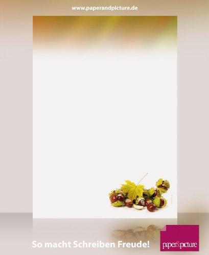 Natur Herbst Motivpapier Kastanien, 50 Blatt Briefpapier DIN A4