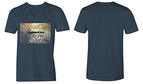 Die Gedanken Sind Frei 4 ★ V-Neck T-Shirt Männer-Herren ★ hochwertig bedruckt mit lustigem Spruch ★ Die perfekte Geschenk-Idee (03) dunkelblau