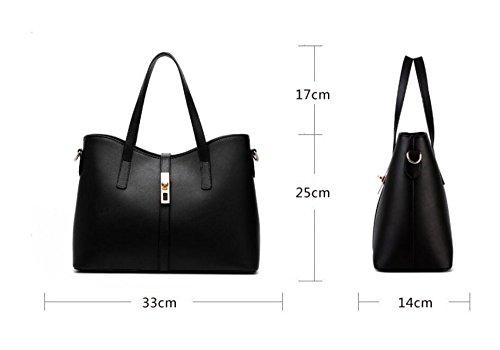 Hqyss Borse Da Donna Pu Leather Multicolor Simple Style Ol Commuter Borsa A Tracolla Da Donna Messenger Nero