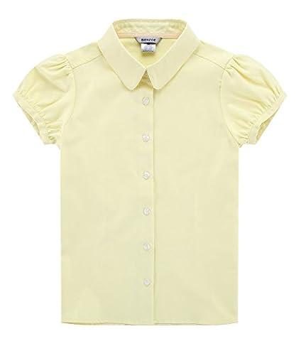 Bienzoe Groß Mädchen Schuluniformen Oxford Kurz Puff Ärmel Bluse Gelb Größe L
