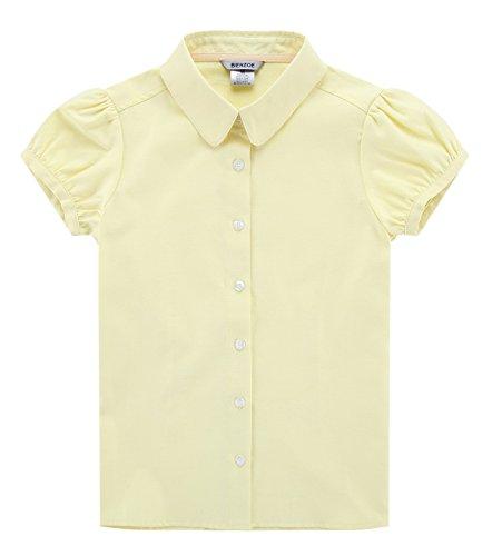 Bienzoe Groß Mädchen Schuluniformen Oxford Kurz Puff Ärmel Bluse Gelb Größe S (Gelb-oxford-hemden)