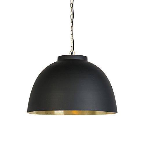QAZQA Industriel Lampe suspendue industrielle grande noire avec intérieure laiton Hoodi Metal Rond Compatible pour LED E27 Max. 1 x 40 Watt/Luminaire/Lumiere/Éclairage/Chambre á coucher/Cui