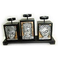 Macedonia Puerto Velas con Buda amitabha de Madera Oriental Juego de 3Velas Candle Holder Set