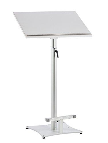 Stehpult Slide-XL von 100 bis 170 cm stufenlos höhenverstellbar und neigbare Arbeitsplatte 65 x 50 cm in Lichtgrau