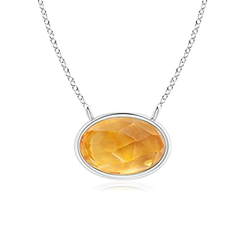 East West Citrine Solitaire Necklace in 14K White Gold (6x4mm Citrine)