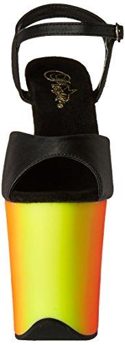 Pleaser RAINBOW-809UV, Damen Plateau Sandalen Blk Faux Leather/Neon Multi
