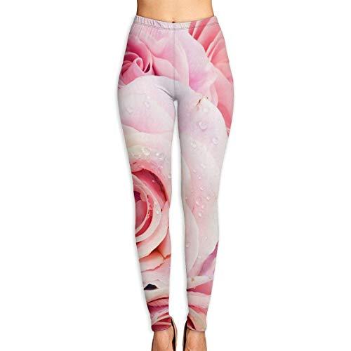 Ewtretr Yoga Pilates Hosen Fitnesshose für Damen, Cute Pink Pastel Roses Printed Yoga Pants for Women Tummy Control Workout Running Stretch Yoga Leggings - Gucci Coral