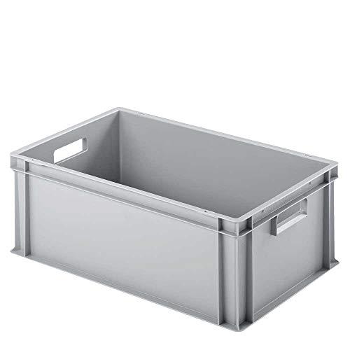 Eurobehälter/Stapelbox mit 2 Durchfassgriffen, LxBxH 600 x 400 x 220 mm, grau