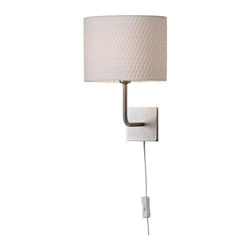 IKEA Wandleuchte Aläng vernickelt weiß Schirm 25 cm D Lampe Wandlampe