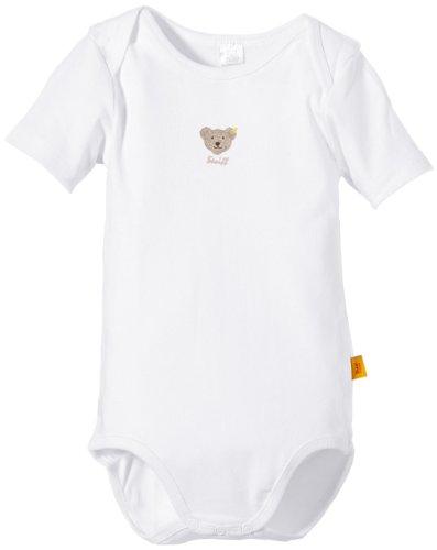 Steiff Unisex - Baby Body 0008513 1/4 Arm, Einfarbig, Gr. 98, Weiß (Bright White)