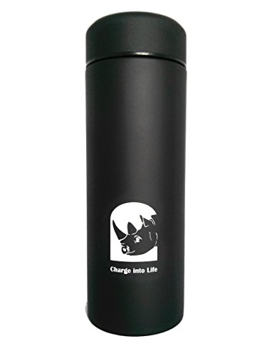 Insulated Water Bottle Tea Coffee Flask, 380ml Black Thermal Flask, Powder Coated Double Walled Stainless Steel, Leakproof, Non-Slip, Easy-Grip, Sweat-Resistant, Food-Grade, BPA-Free, Wide Mouth For Ice Cubes, Removable Tea Strainer and Easy-Cleaning