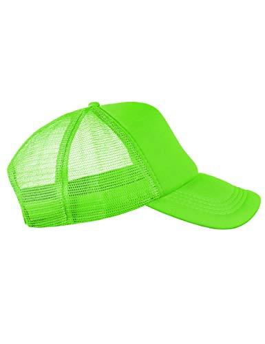Trucker Cap Mütze Classic Happy für Herren und Damen, One Size Snapback (Neon Green)