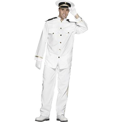 De Smiffy - El capitán del traje con chaqueta, pantalón, sombrero y guantes, Man, color: Blanco
