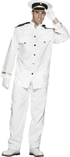 Smiffys Herren Kapitän Kostüm, Jacke, Hose, Mütze und Handschuhe, Größe: M, 24850