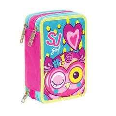 Astuccio scuola seven - animali da sj - 3 scomparti - rosa azzurro - pennarelli matite gomma ecc.