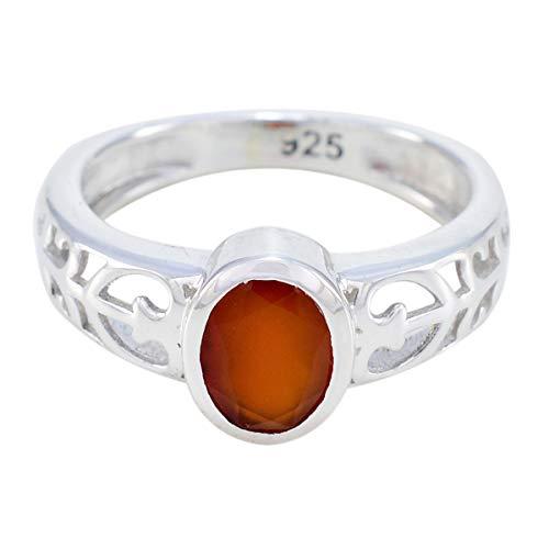 echte Edelsteine oval facettierter roter Onyx-Ring - massiv Silber roter roter Onyx echter Edelstein-Ring - Exporteur Schmuck schöne Verkauf Läden Geschenk für Mama moderne Stapelring