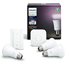 Philips Hue White and Color Ambiance - Kit de 3 bombillas LED E27, puente e interruptor o mando, 9,5 W, iluminación inteligente, 16 millones de colores, compatible con Apple HomeKit y Google Home