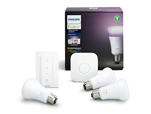 Philips Hue White and Color Ambiance Starter Kit con 3 Lampadine E27, 1 Bridge e 1 Telecomando Dimmer Switch,16 milioni di colori