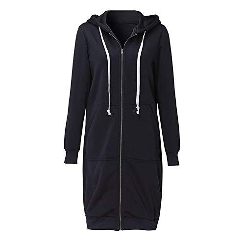 MENSDXA Kleiden 5XL Plus Size Hoodies Sweatshirts Mode Frauen Lange Hoodie Top Casual Taschen Reißverschluss Feste Oberbekleidung Frühling Jacke Mantel XXL Schwarz (Plus Hoodies Size Frauen)