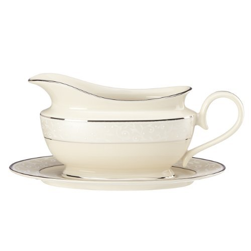 Lenox Pearl Innocence Sauce Boat and Stand, Ivory by Lenox Lenox Sauce Boat
