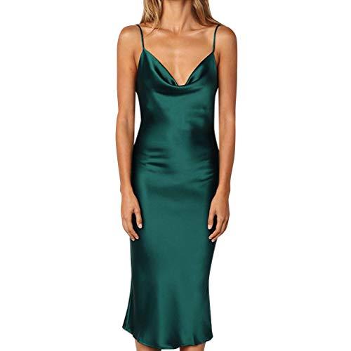 Kleid Sannysis Elegante Damen Spaghetti Träger Kleid Ärmellos Minikleider Partykleid Satin Minikleid Lose Clubwear -