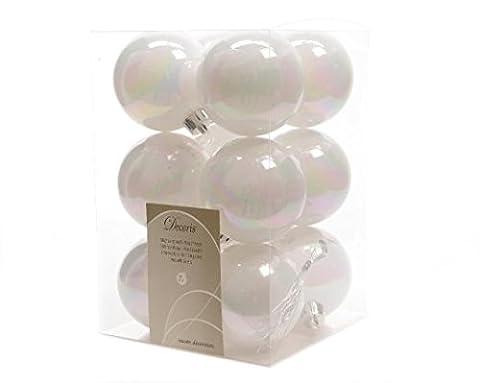 Lot de 12 boules de Noël (D60 mm) Alpine Blanc irisé