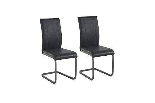 Cavadore Schwingstuhl 2-er Set Lilly / Stühle ohne Armlehne in modernem Design / Lederimitat / Stuhlset Anthrazit / 43 x 99 x 56cm (B x H x...