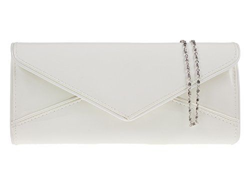 Nuovo sera lucida brevetto frizione borsa di colore è nero nudo rosso Navy rosa gare matrimoni 09179 Bianco (bianco)