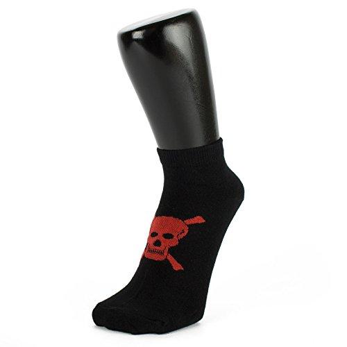 Red Skull auf schwarzem Design Trainer Socken (3 PACK) (Größe: 4-7) (Trainer 3 Socken)