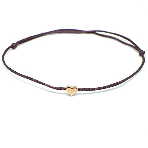 Fußkettchen Herz Roségold auf braunem Satinband - Größenverstellbar Selfmade Jewelry Handmade Fußbändchen