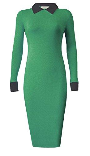 Fashion pour femme 4moins Nouvelles peterpan Collier robe Midi Bodycon. UK 8–14 Jade