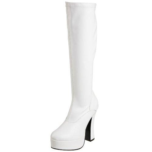 Pleaser ELECTRA-2000Z, Damen Langschaft Stiefel, Weiß (Weiss (Wht Str Faux Leather)), 40 EU (7 Damen UK)