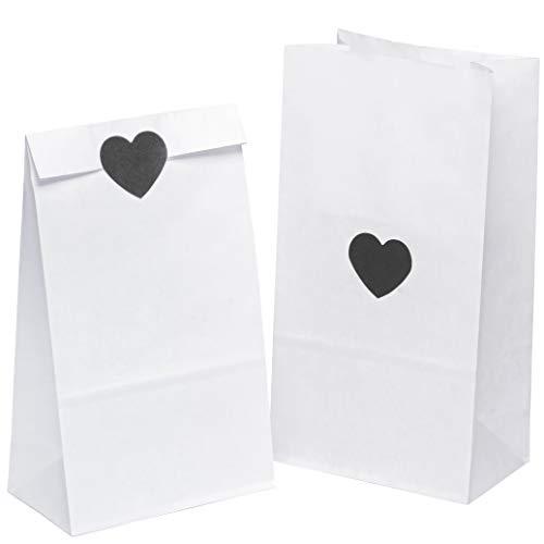 50 Papiertüten Kraftpapier Weiß tüten Papiertütchen Tütchen 14 x 26 x 8 cm mit 50 Stück schwarz Herz Aufkleber Papier klein Geschenk kleine Papierbeutel Adventskalender Kindergeburtstag
