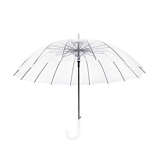 Lancoon Durchsichtiger Regenschirm XXL klar und extra groß: 120 x 97 cm mit praktischem Öffnungsmechanismus und ergonomischem Griff PVC Glasfaser