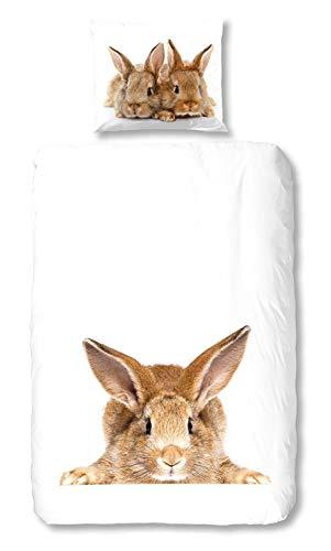 Good Morning Bettwäsche Rabbit Renforcé weiß Größe 135x200 cm (80x80 cm)