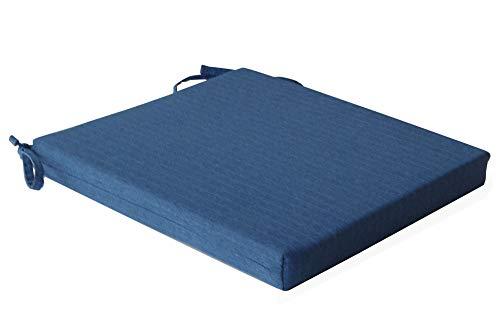 Inwona Bequemes Stuhlkissen Sitzkissen mit Stoffbezug Dicke Polsterung / 39x35x4cm / Für den Esszimmerstuhl Gartenstuhl und Balkonstuhl Farbe Blau