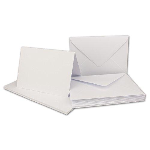 Faltkarten Set mit Brief-Umschlägen DIN A6 / C6 in Kristallweiß | 25 Sets | 14,8 x 10,5 cm | Premium Qualität | Serie FarbenFroh®