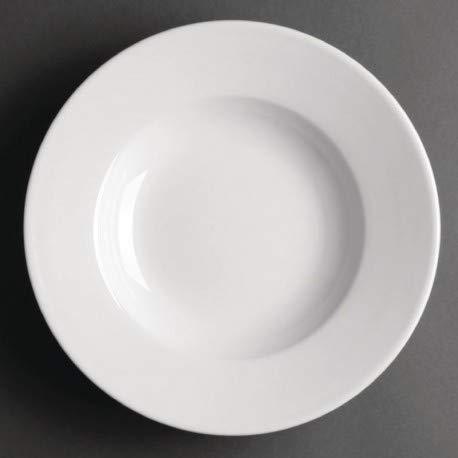 Assiettes à potage en porcelaine blanche 228 mm Athena - Lot de 6 -