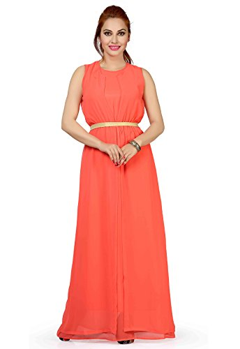 Ishin Faux Georgette Peach Party Wear Wedding Wear Casual Daily Wear Festive Wear Bollwood New Collection Solid Latest Design Trendy Women's Western Maxi Dress  available at amazon for Rs.594