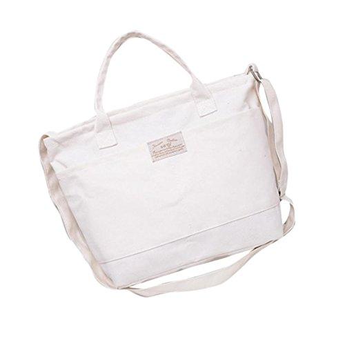 Bag Bags Student Frauen Multifunktions Leinwand Umhängetasche Handtasche Loveso Modische Canvas quadratische lässige Umhängetasche vielseitig einsetzbar (Weiß, 37cm (L) * 28cm (H) * 11cm (W)) (Polyester-canvas-tasche)